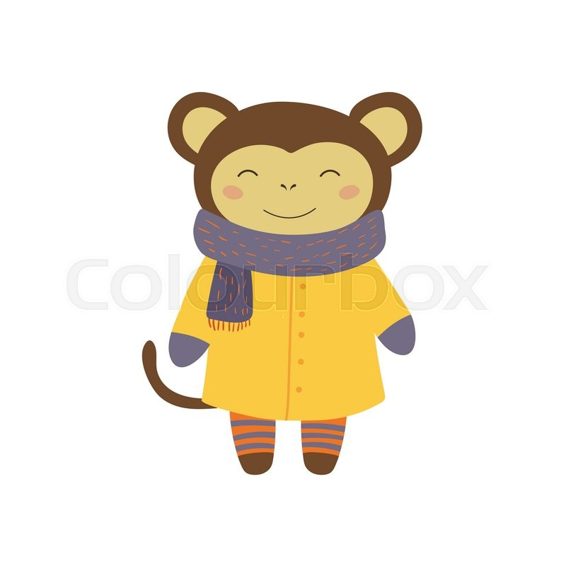 fec7c225a Girl Monkey In Yellow Warm Coat ... | Stock vector | Colourbox