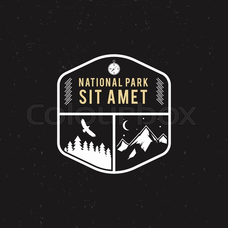 Stamp For National Park Mountain Camp Tourism Hipster Style Patch