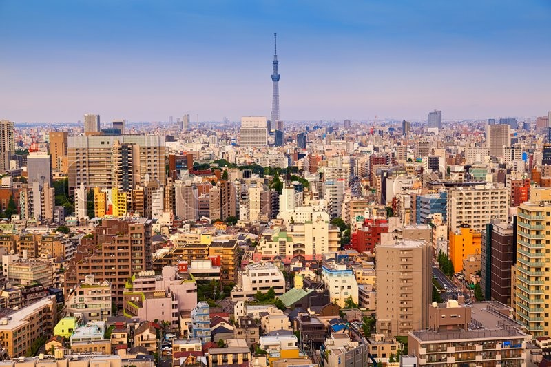 Tokyo cityscape, panoramic view on Tokyo downtown, stock photo