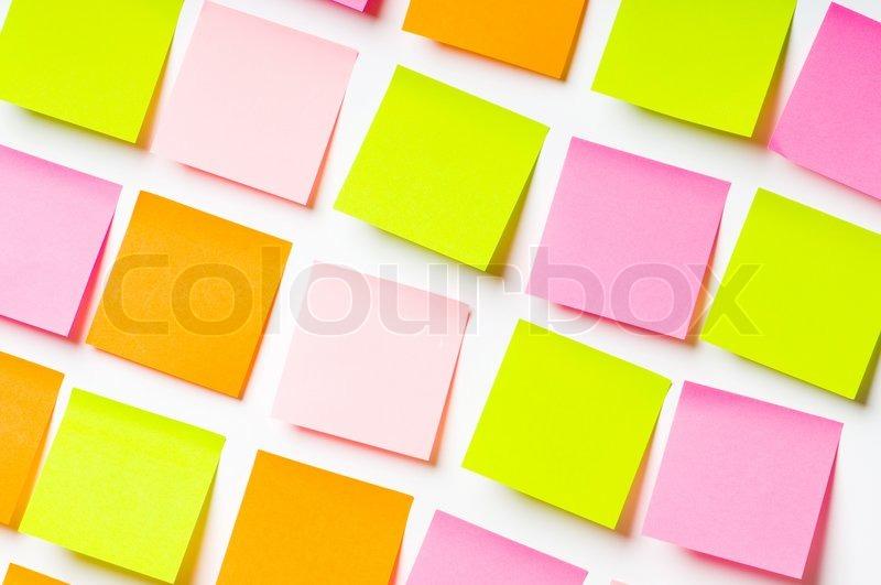 Reminder notes isolated on the white background, stock photo