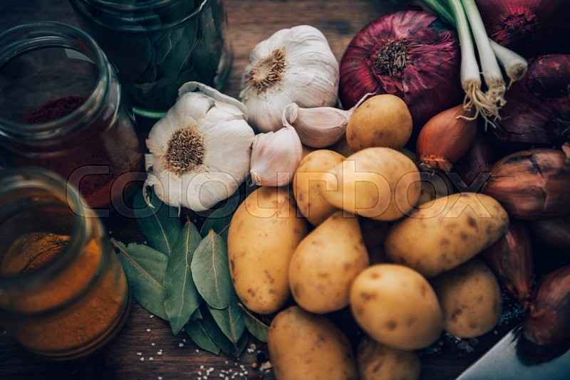 Stock Bild von 'Still life of food staples. Kitchen essentials.'