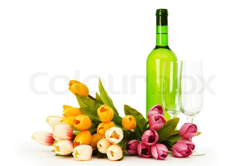 Wine and flowers isolated on the white background stock photo wine and flowers isolated on the white background stock photo colourbox mightylinksfo