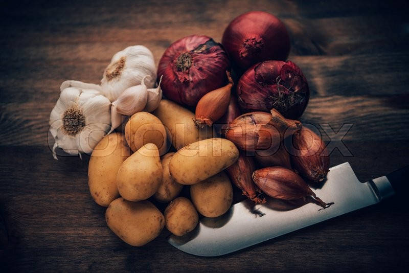 Stock Bild von 'Food still life of basic and flavor enhancing ingredients.'