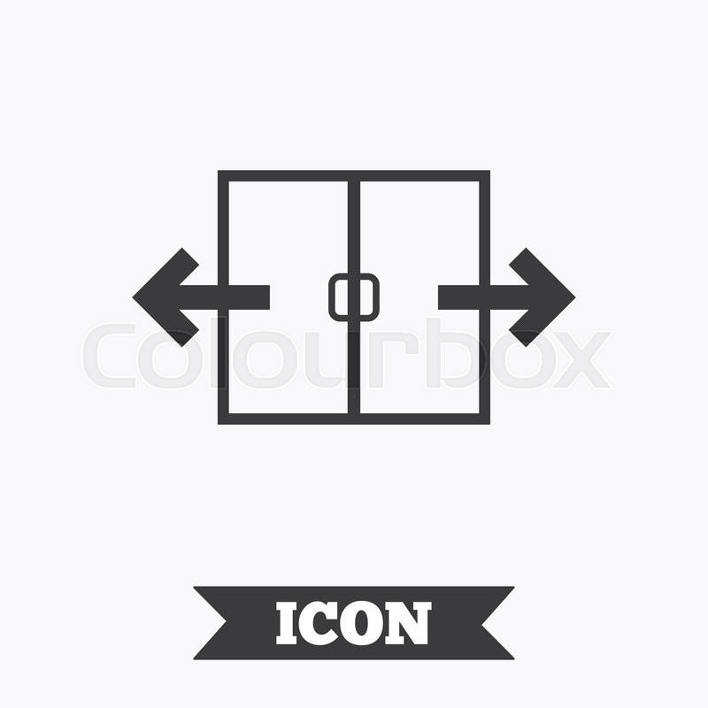 Automatic Door Sign Icon Auto Open Symbol Graphic Design Element