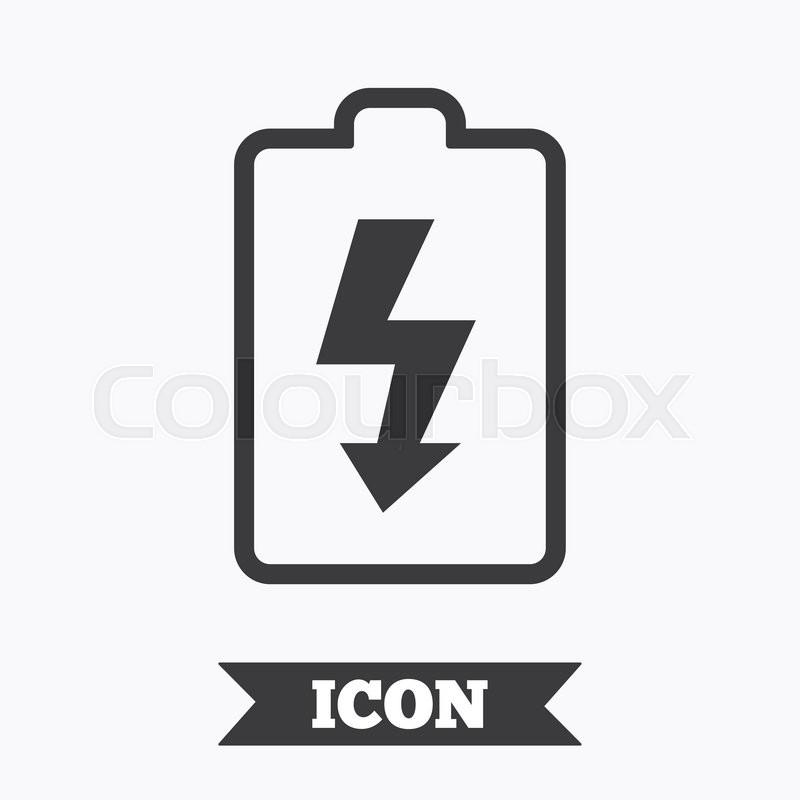 Battery Charging Sign Icon Lightning Symbol Graphic Design Element