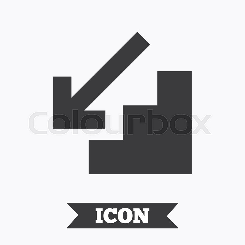 Downstairs Icon Down Arrow Sign Graphic Design Element Flat