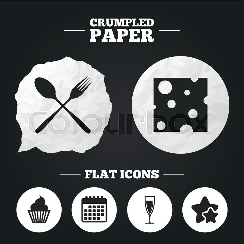 Crumpled Paper Speech Bubble Food Icons Muffin Cupcake Symbol