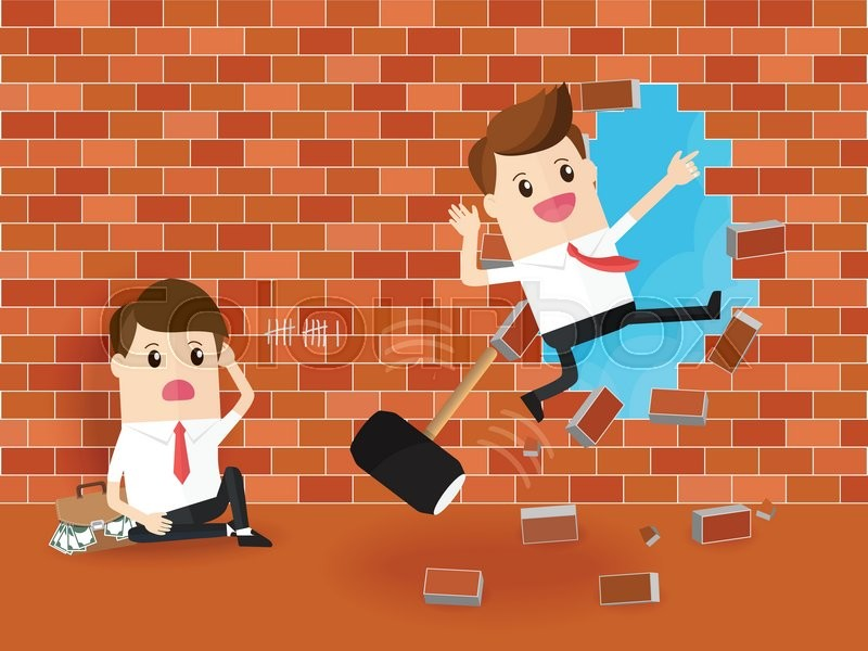 Businessman Using Hammer Destroy Brick Wall And Breaking Through A With Desperate Rival Sitting On The Floor Business Competition