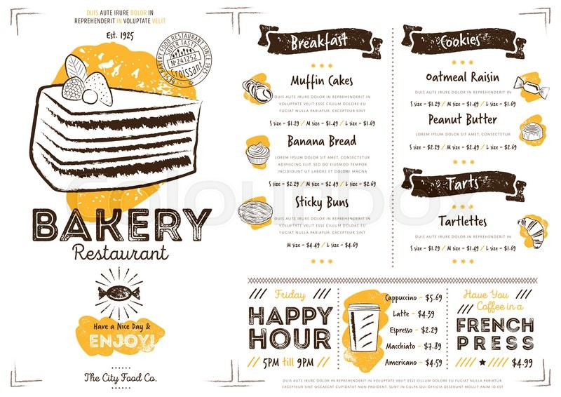 Restaurant Bakery Cafe Menu Template Flyer Vintage Design Vector