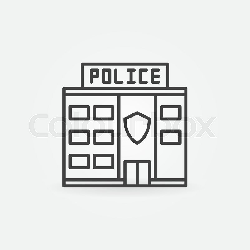 Police Station Building Icon Vector Police Linear Symbol Police