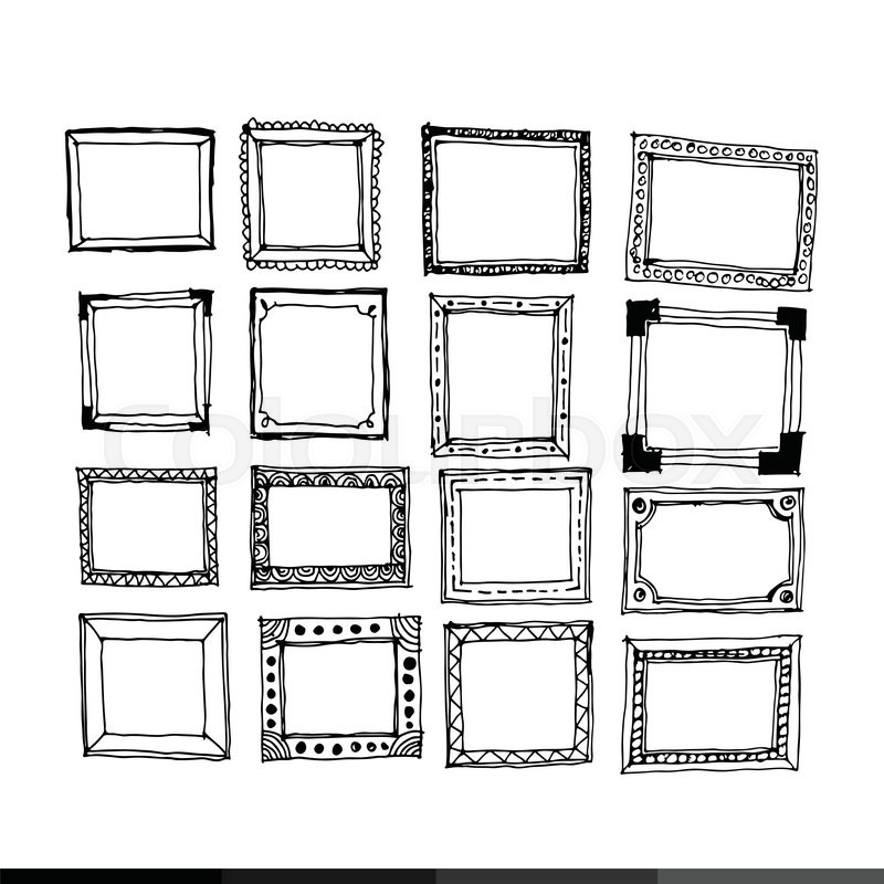Hand draw frame icon illustration design   Stock Vector   Colourbox