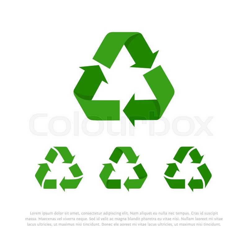 Set Of Four Green Flat Isolated On White Vector Recycle Symbols