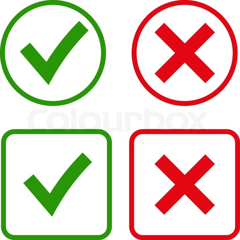 Tick And Cross Signs Green Checkmark Ok And Red X Icons Isolated