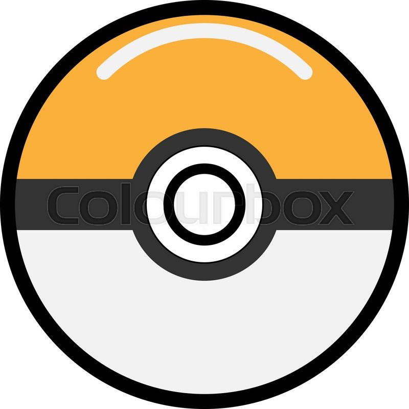 Vector orange game ball for play in team. Pokeball object ...