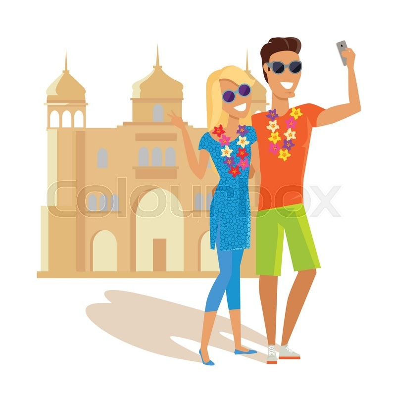 Summer vacation in India concept. Honeymoon in exotic country vector illustration. Selfie on background of famous historical monuments. Couple taking picture near asian historic building, vector