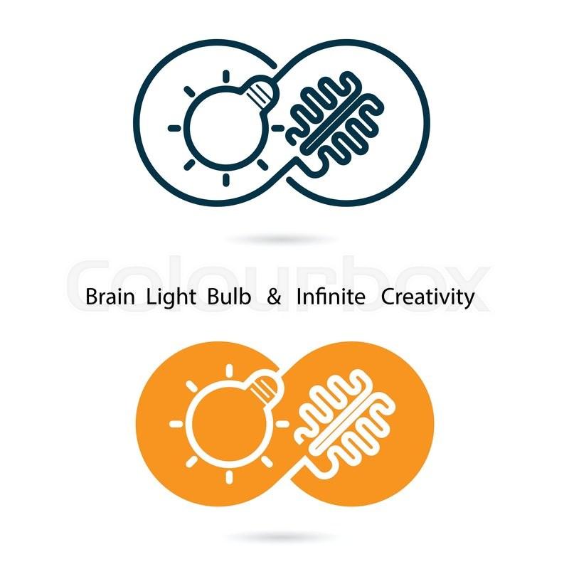 Brain And Light Bulb Sign And Infinite Creativity Logo border=