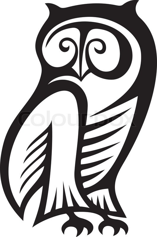 Black And White Owl Symbol Of Wisdom And Wealth Stock Vector