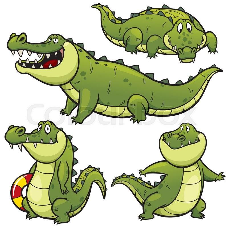 Vector illustration of Cartoon Crocodile Character Set ... - photo#40