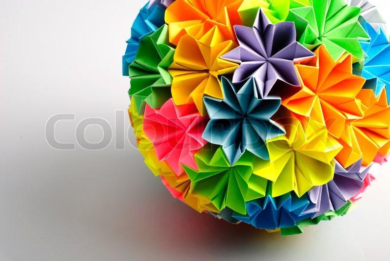 Colorfull Origami Kusudama From Rainbow Flowers Isolated On White