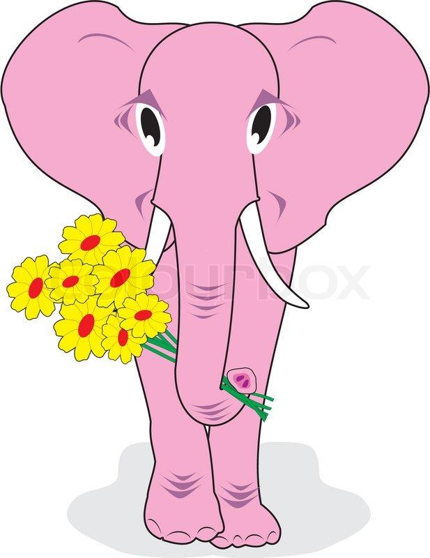 Rosa Elefant mit Blumen   Vektorgrafik   Colourbox