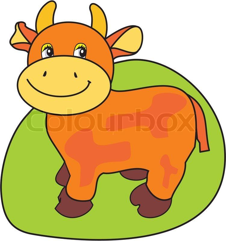 Vector Bild der lächelnden kleine Kuh auf grünem Gras - cartoon ...