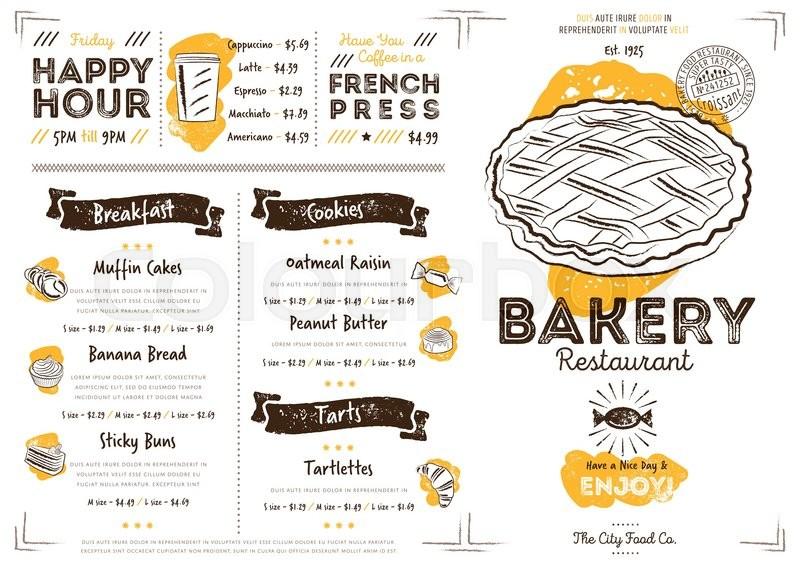 restaurant bakery cafe menu template flyer vintage design vector