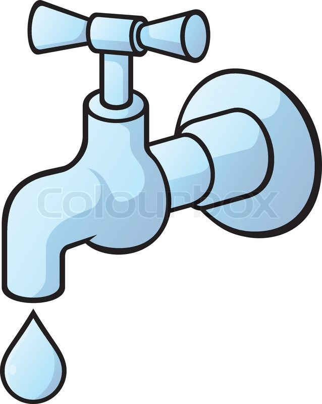 Dripping Tap Light Blue Illustration With Light Shadows