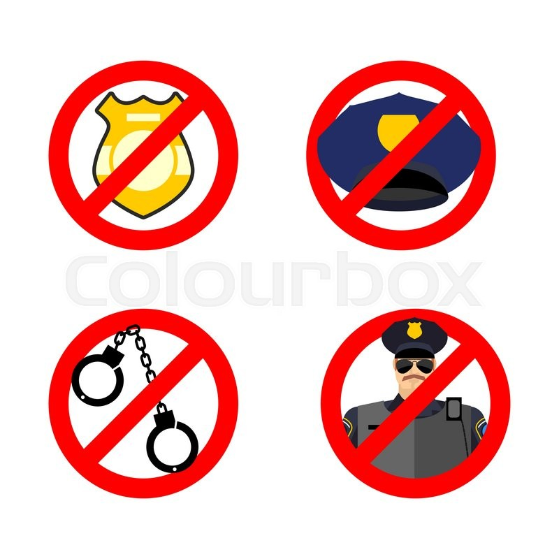 Stop Cop Set Icon It Is Forbidden By Police Strikethrough