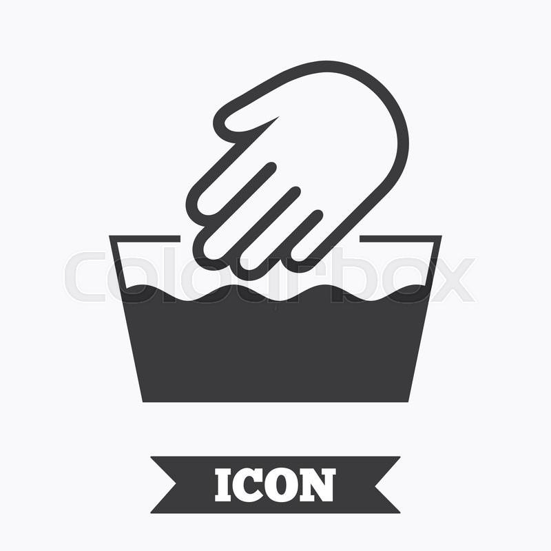 Hand Wash Sign Icon Not Machine Washable Symbol Graphic Design