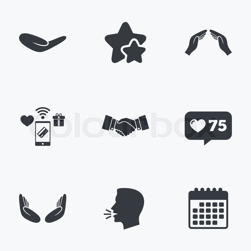 Hand icons. Handshake successful business symbol. Insurance protection sign. Human helping donation hand. Prayer meditation hands. Flat talking head, calendar icons. Stars, like counter icons. Vector, vector