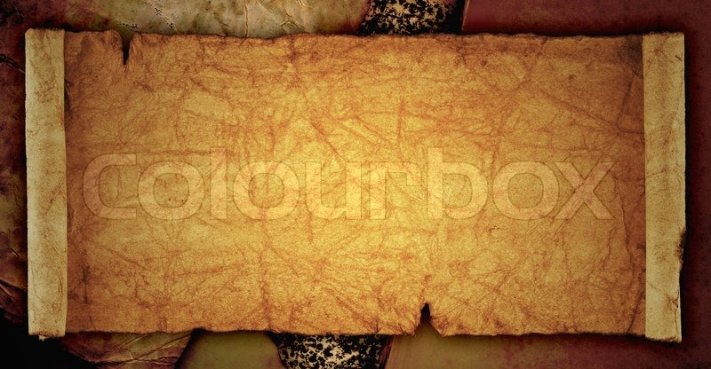 scroll of old parchment, on the old vintage background | stock, Powerpoint templates