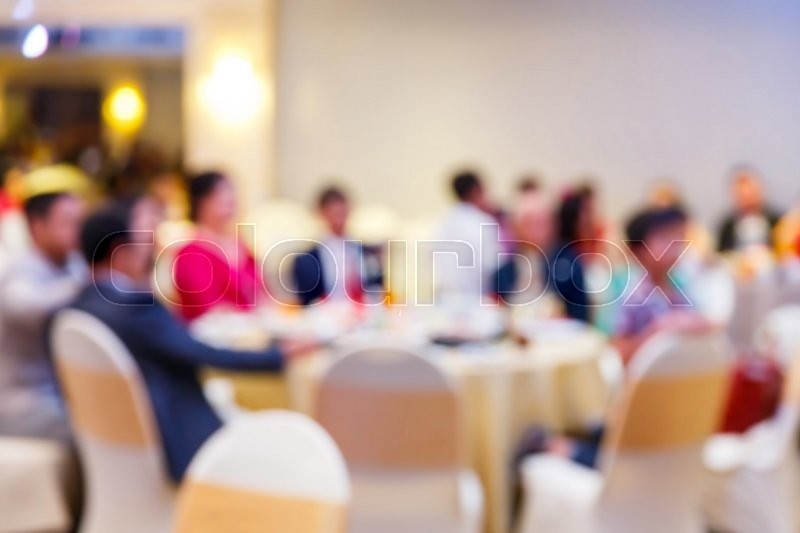 Restaurant Background With People abstract blur people in restaurant or food center with light bokeh