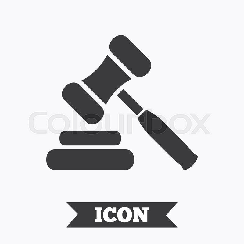 Auction Hammer Icon Law Judge Gavel Symbol Graphic Design Element