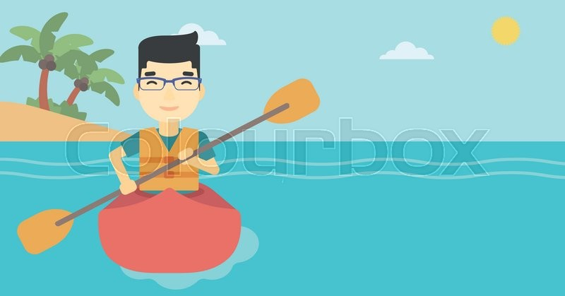 An asian sportsman riding in a kayak in the sea. Young man traveling by kayak. Male kayaker paddling. Man paddling a canoe. Vector flat design illustration. Horizontal layout, vector