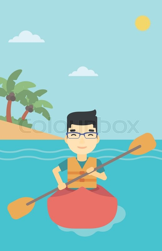 An asian sportsman riding in a kayak in the sea. Young man traveling by kayak. Male kayaker paddling. Man paddling a canoe. Vector flat design illustration. Vertical layout, vector