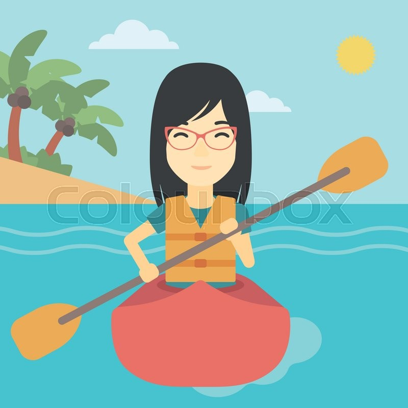 An asian sports woman riding in a kayak in the sea. Young woman traveling by kayak. Female kayaker paddling. Woman paddling a canoe. Vector flat design illustration. Square layout, vector
