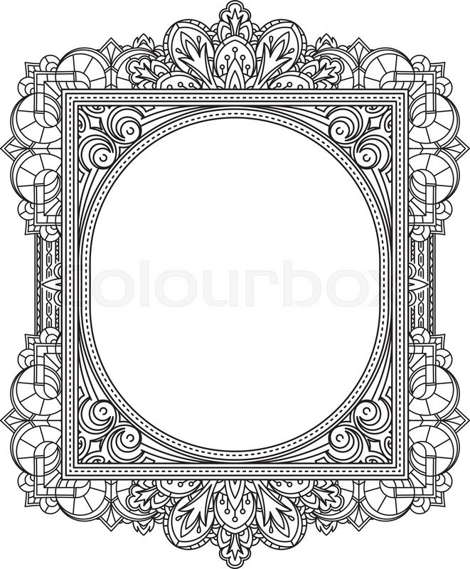 Rich decorated unusual oval frame pattern. Vector decorative ...