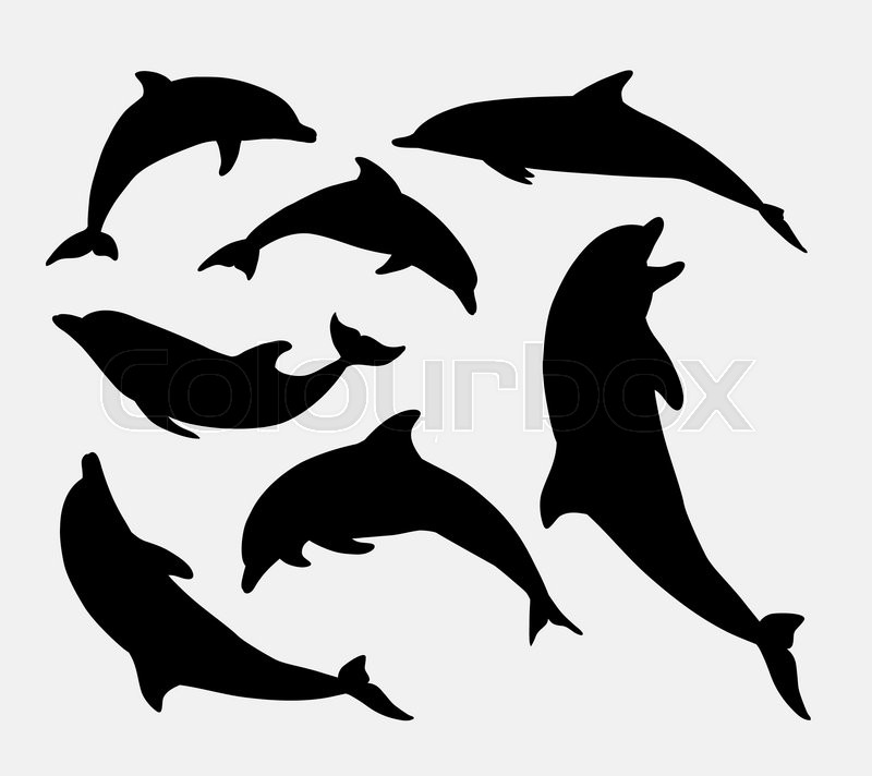 Dolphin Fish Animal Silhouette Good Use For Symbol Logo