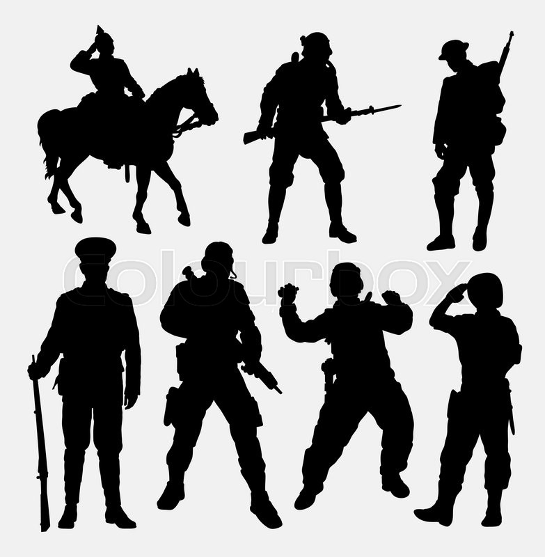 Soldier, military, army, police, and security silhouette ...
