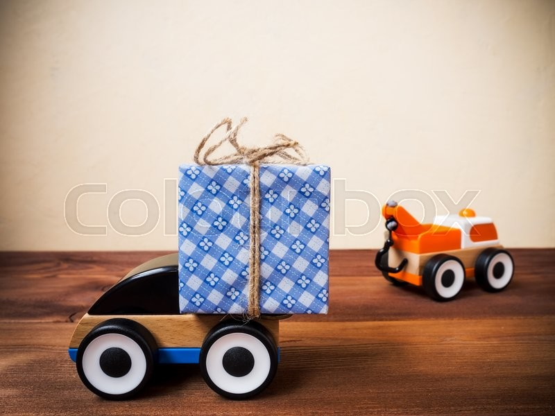 Concept of gift delivery service, stock photo