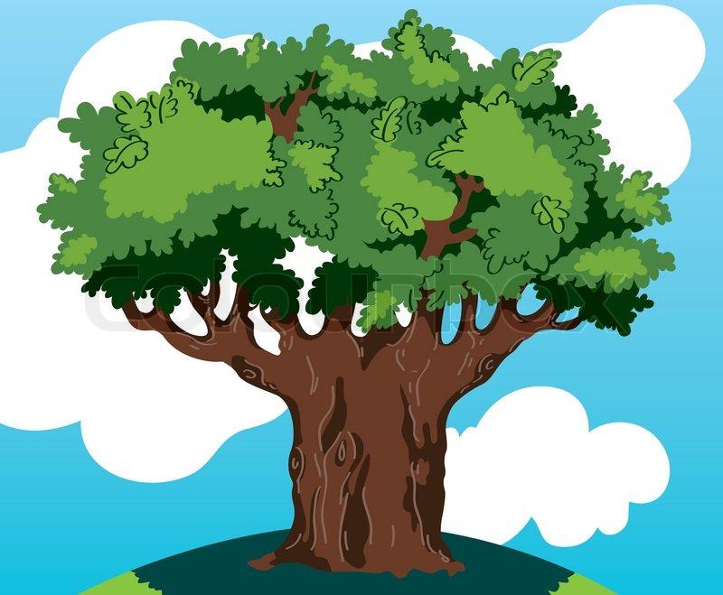 Oak Tree Cartoon Oak Tree Against The Sky And