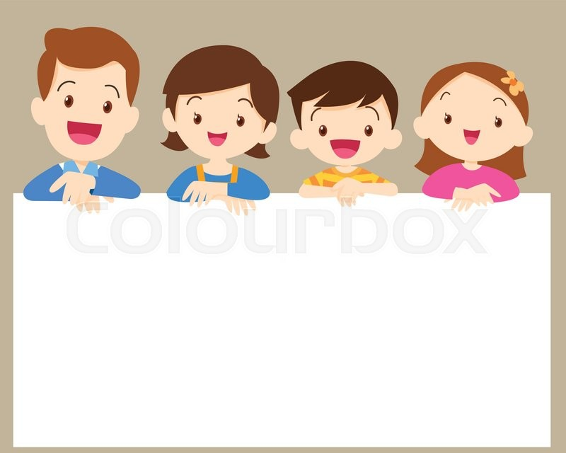 Cute family post smile on a white board, space frame | Stock Vector ...