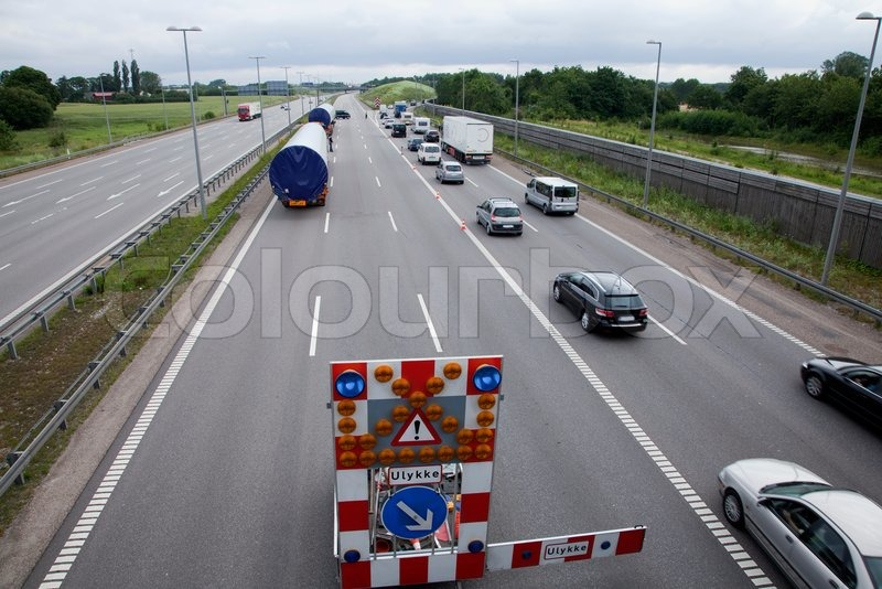 Traffic regulation on motorway, stock photo
