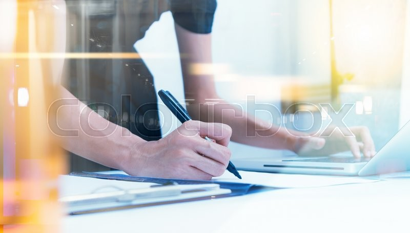 Businesswoman prepare and read data for discuss target on market at meeting room for decorate or design business content, business background.(Pastel color), stock photo