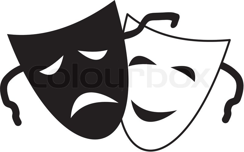 pictures of drama masks theatrical masks isolated vector stock vector 6014