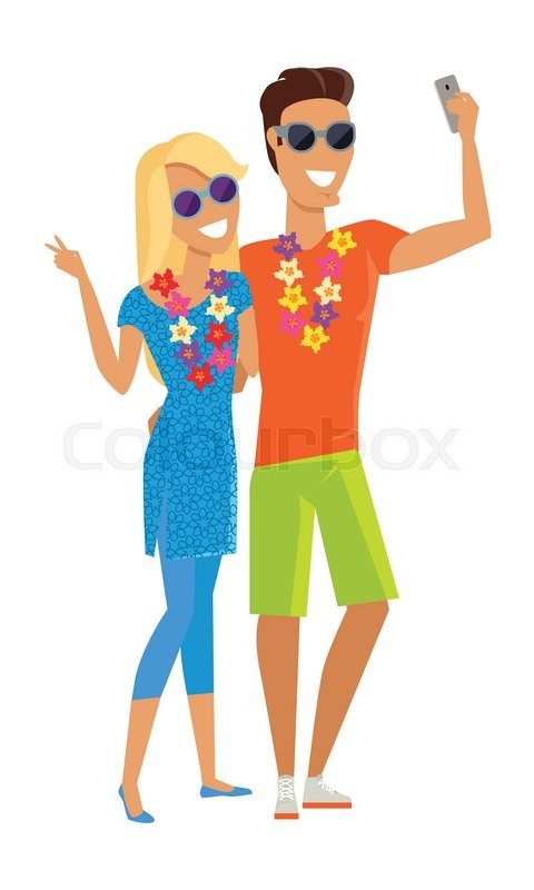 Summer vacation selfie concept. Honeymoon in exotic countries vector illustration. Flat style design. Couple in love with a necklace of flowers taking picture. Isolated on white, vector