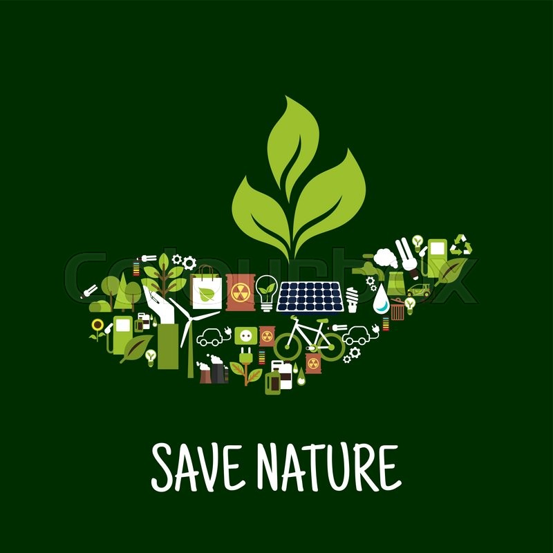 Save Nature Concept Icon With Green Plant In Human Hand