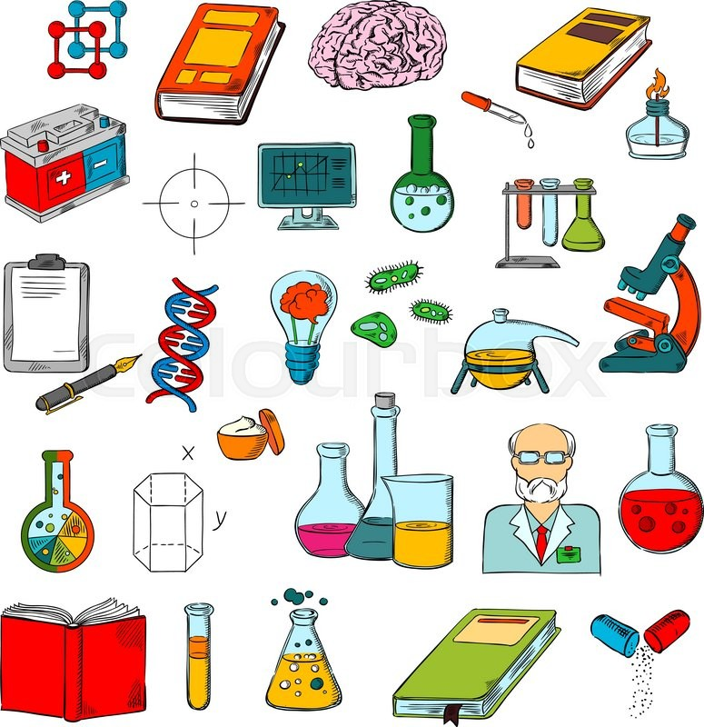 Physics Chemistry And Medicine Science Research Symbols Of Sketched