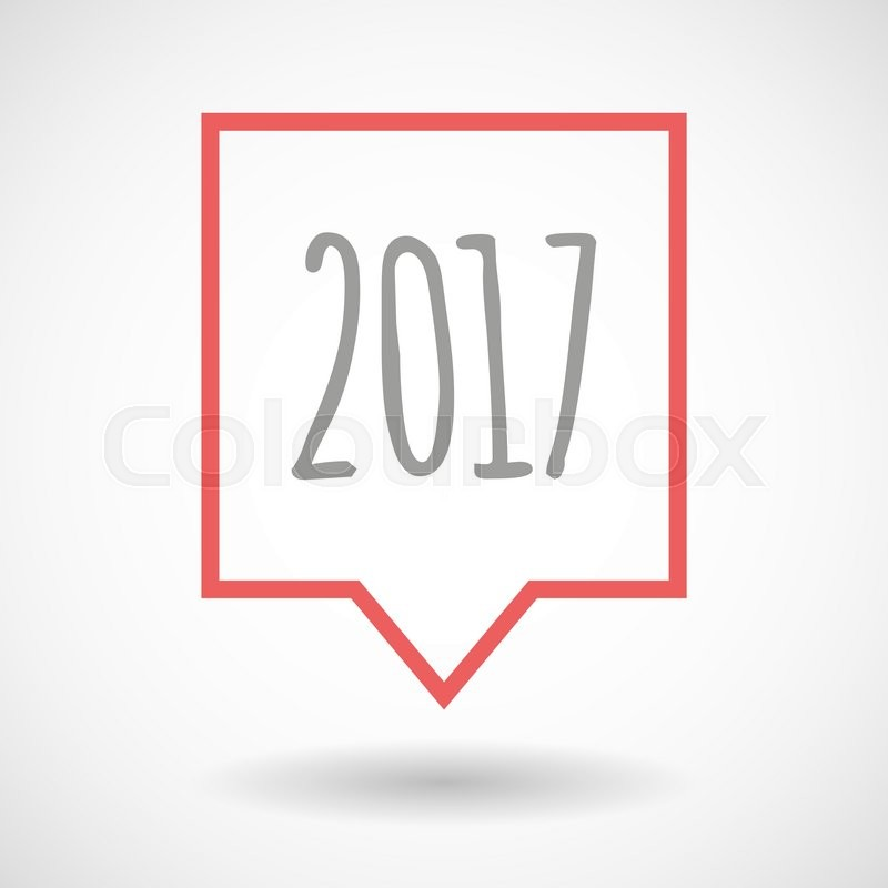 Illustration of an isolated line art tooltip icon with a 2017 year ...