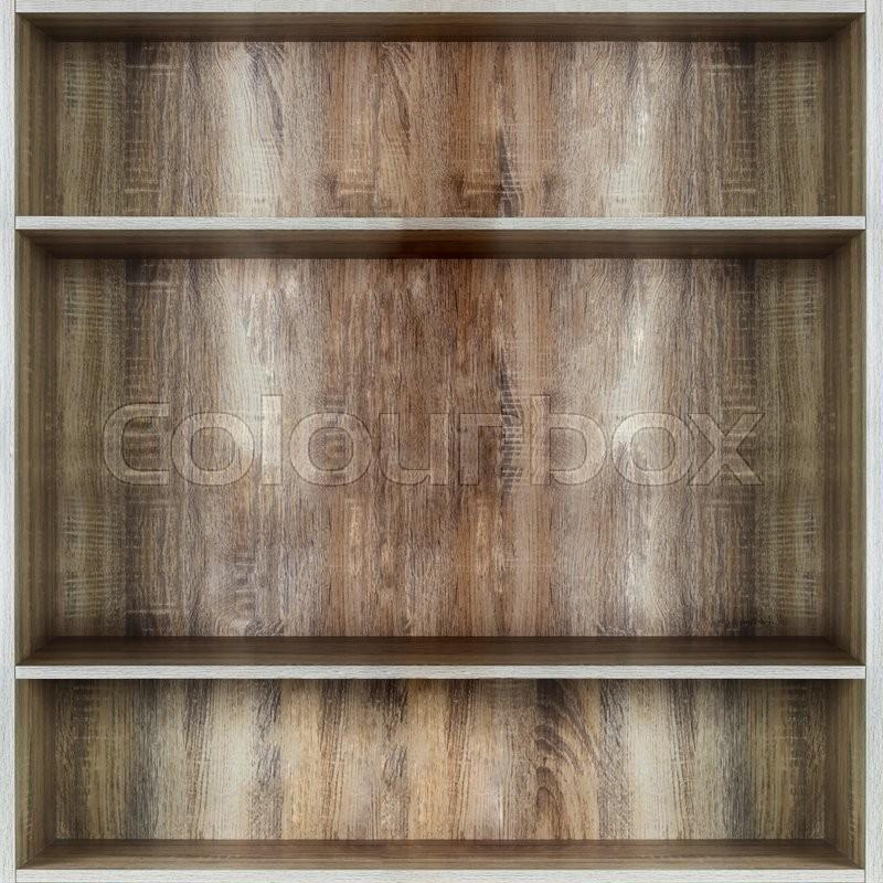 Blank wooden bookshelf , stock photo
